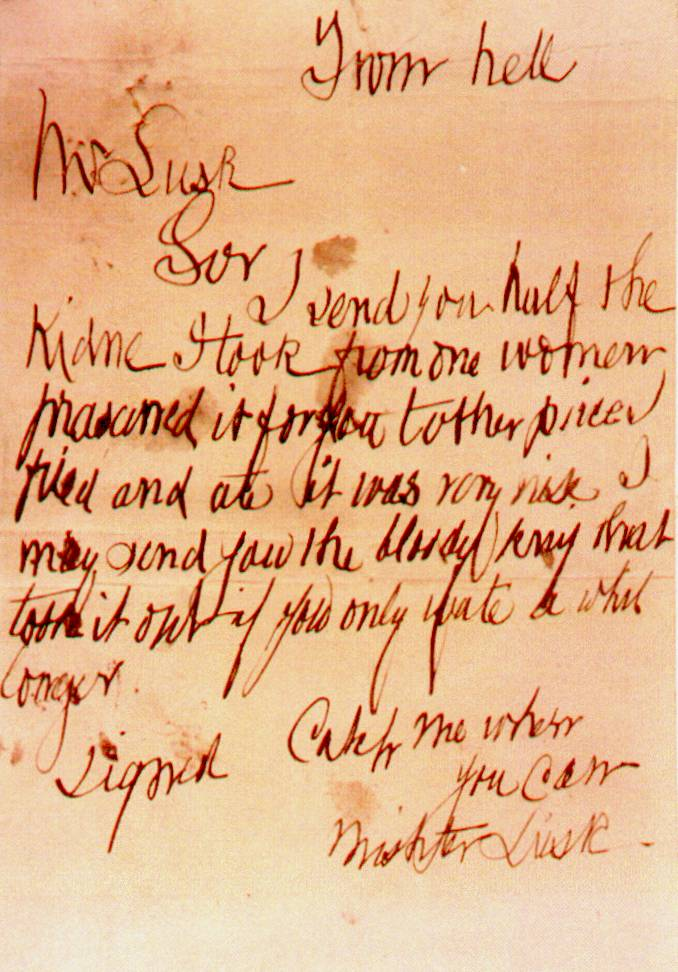 From Hell letter, Jack The Ripper