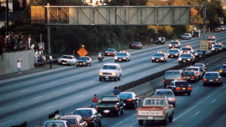 OJ Simpson being chased by the police.
