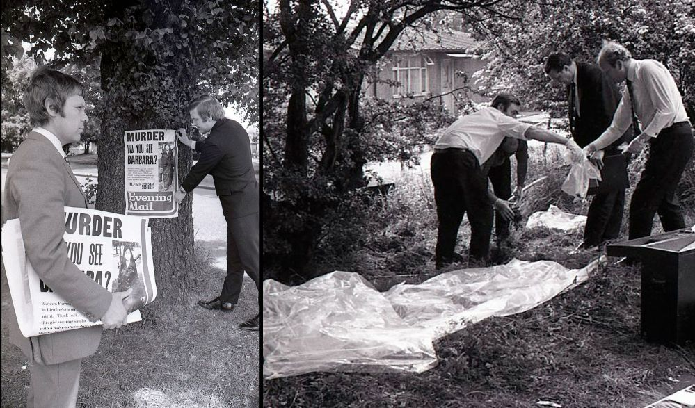 Detectives putting up posters regarding the Barbara Forrest murder(on left), Detectives searching the spot where the body of Barbara Forrest was found(on right)