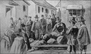 Giles Corey was pressed to death during the Salem witch trials in the 1690s