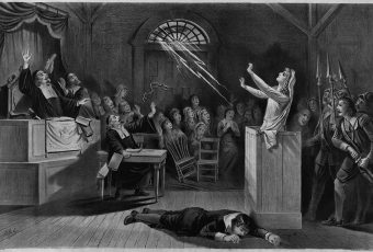 Fanciful representation of the Salem witch trial