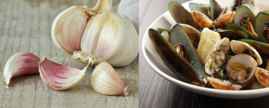 Garlic and Shell fish is avoided during dinner