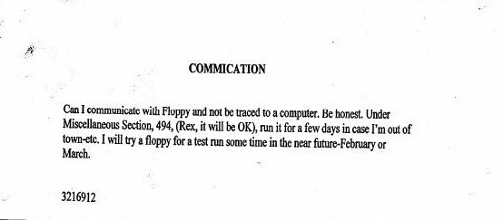BTK's letter to police in which he asked if he could use a floppy disk and not tracked?