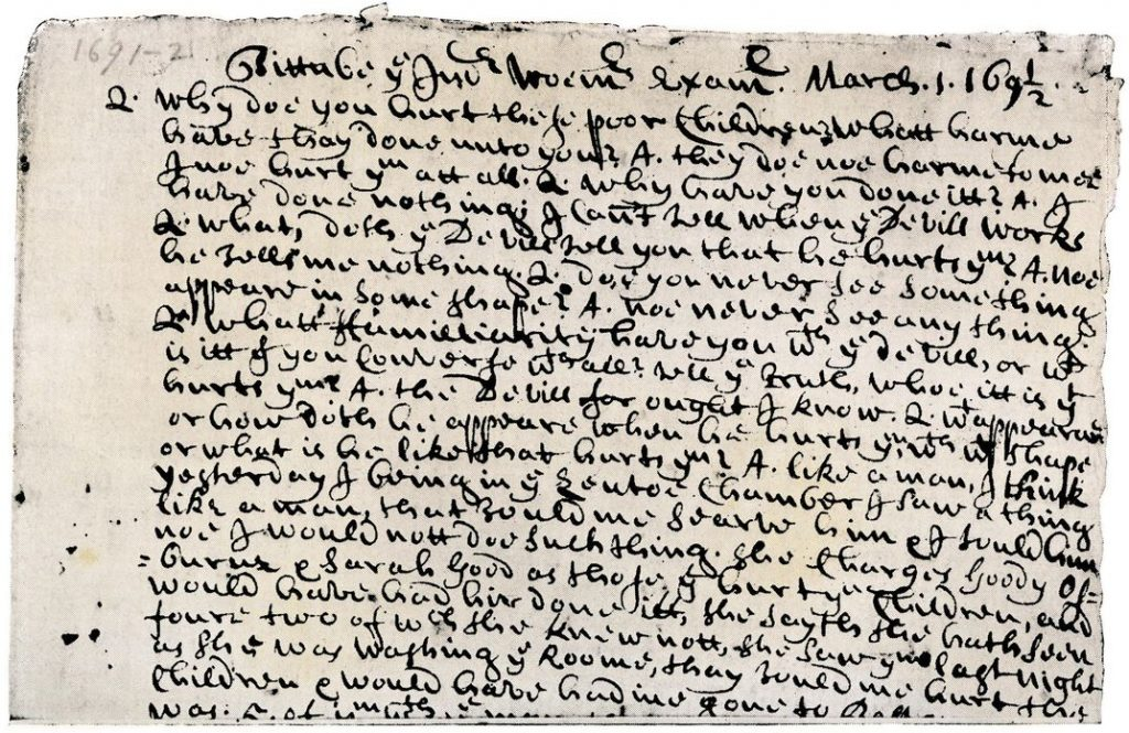 "Tituba's testimony regarding the devil (here, a 1692 transcript) riveted the courtroom: ""I must serve him six years and he would give me many fine things."" (North Wind Picture Archives)"