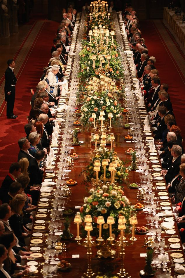 Guests at a state banquet at Windsor Castle