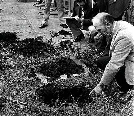 Cops investigating the buried skull, in her mother's front yard. Credits; Getty