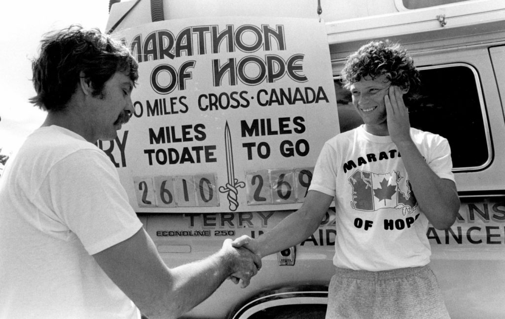 Terry Fox met many fans during his marathon