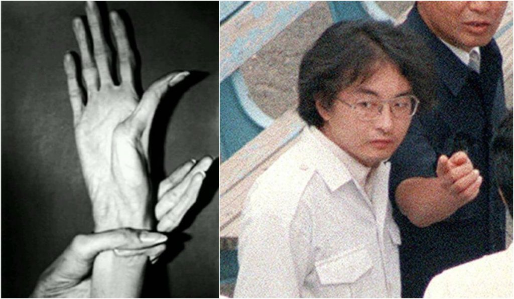 Tsutomu Miyazaki's hands(left).