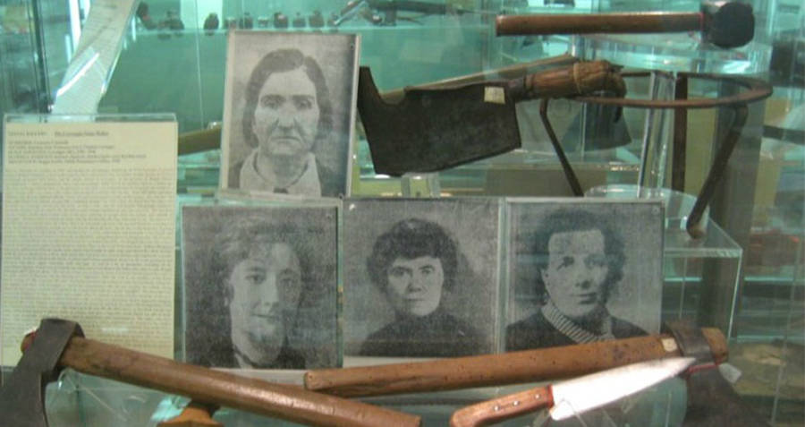 Leonarda Cianciulli's victims and her murder weapon, the axe.