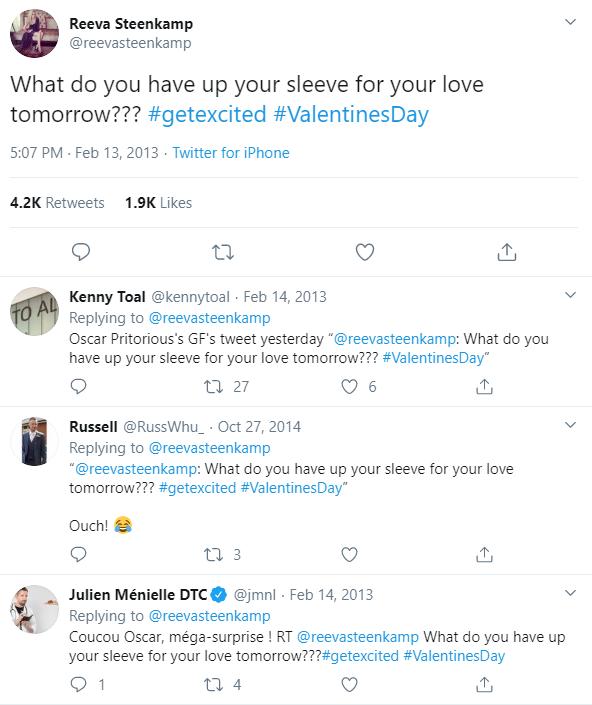 Reeva Steenkamp last post on twitter