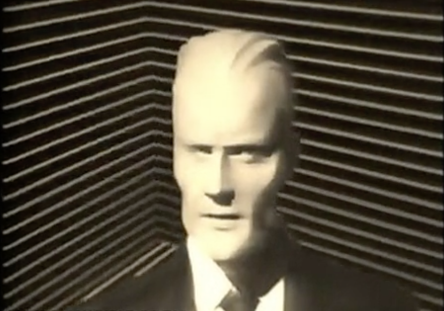 The original Max Headroom, a fictional character from a dystopian future.