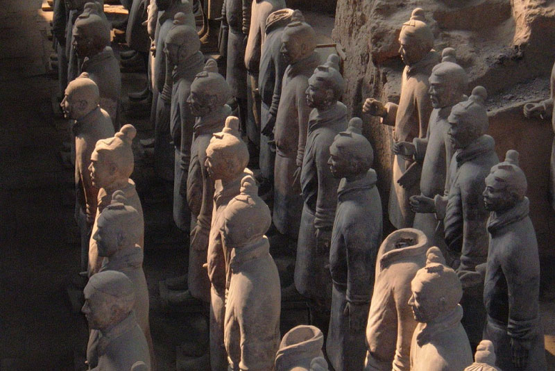 A rank of soldiers in Terracotta Army