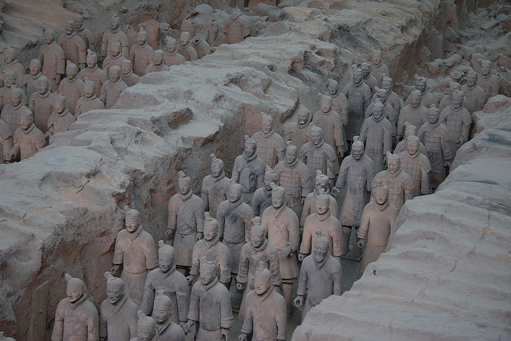 View of Pit 1, the largest excavation pit of the Terracotta Army