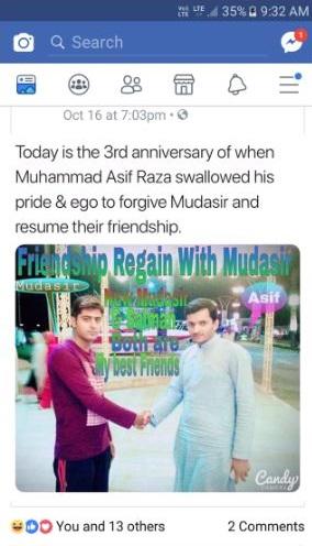 30. Mudasir got his friend back