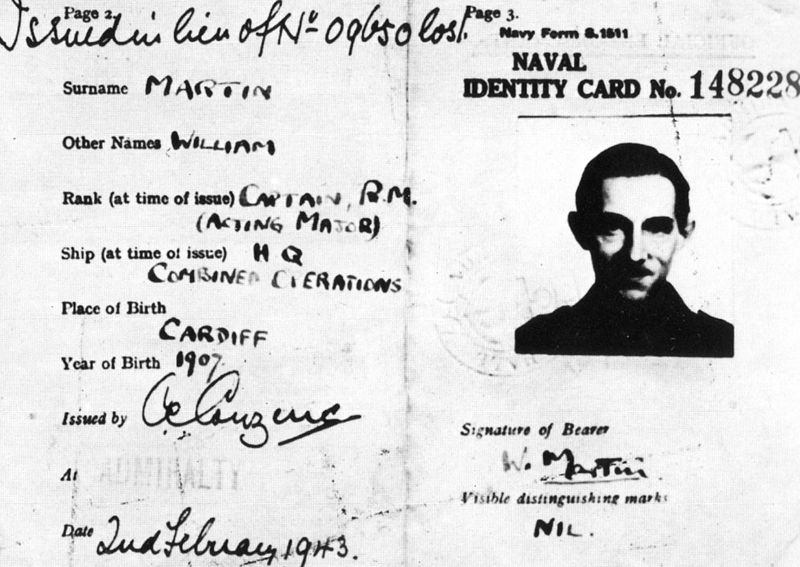 Naval identity card of Major Martin with photograph of Captain Ronnie Reed
