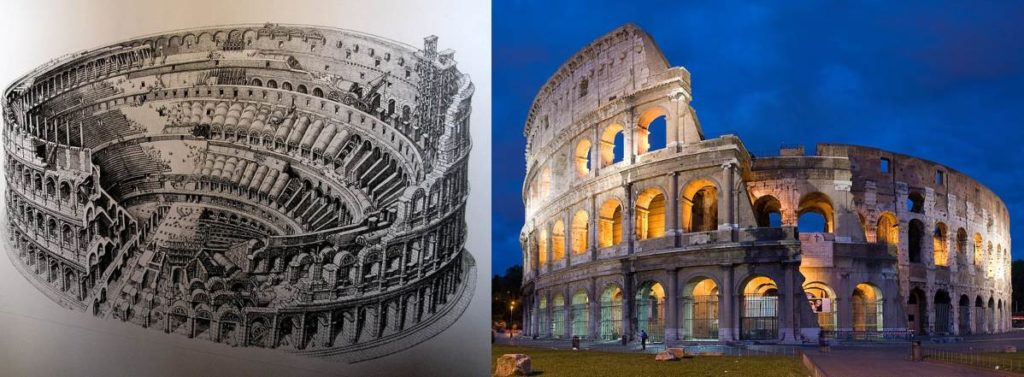 Drawing of Colosseum shown at Colosseum and Colosseum in 2007