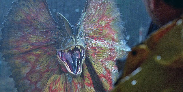 The depiction of Dilophosaurus as seen in the 1993 film Jurassic Park,