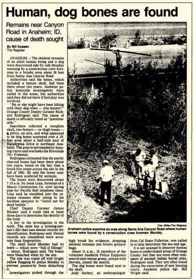 (Newspaper cutting, Human, dog bones are found)