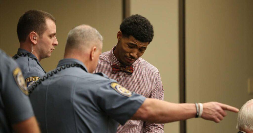 Albert Wilson 23 taken into custody by deputies after the jury found him guilty of rape.