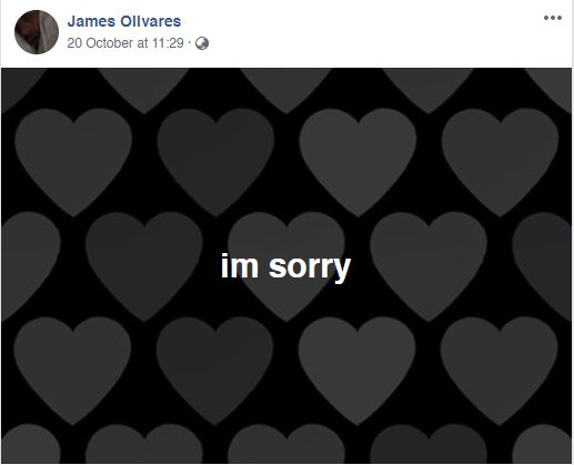 im sorry post on Facebook by James olivares
