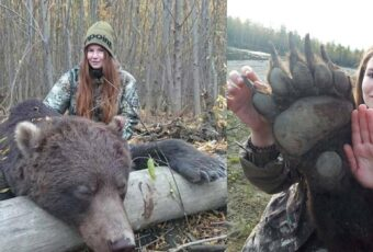 Russian trophy hunter posts her image with dead bear