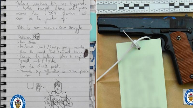 notepad and gun recovered from his room.