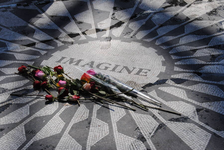 Roses in Strawberry Fields, a Central Park memorial dedicated to John Lennon.