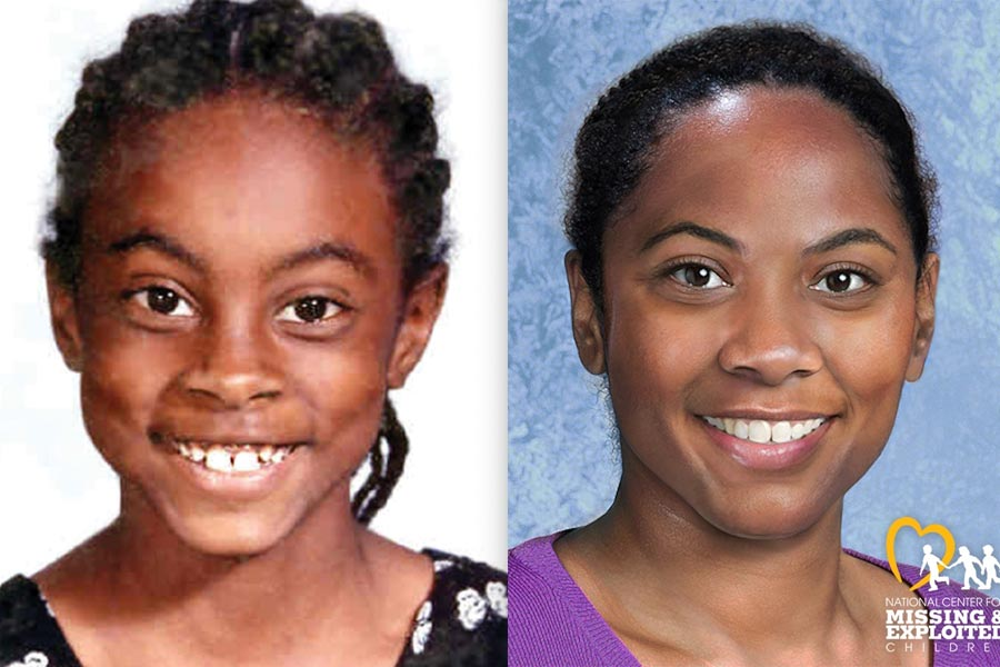 Asha Degree was 9 when she disappeared on February 14, 2000. On the right is an age-progressed photo that shows what she might look like today.