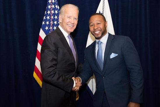 Jarrett Adams with Joe Biden